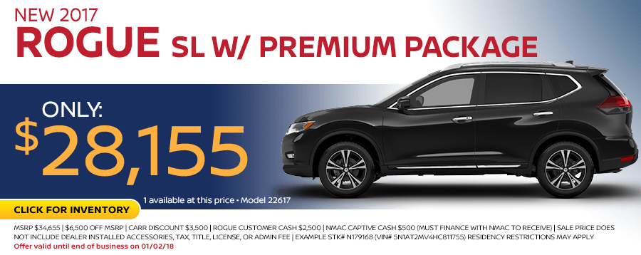 2017 Rogue SL w/ Premium Package Sales Special at Carr Nissan in Beaverton, OR