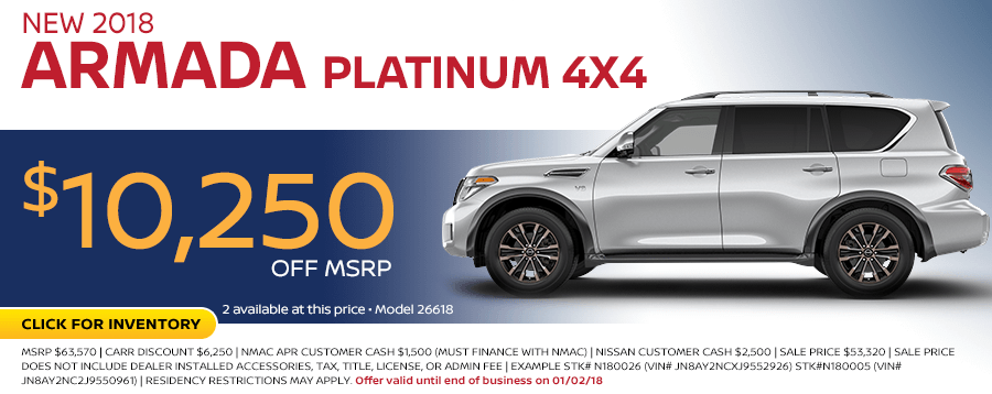 Save on a 2018 Armada 4x4 purchase at Carr Nissan in Beaverton, OR