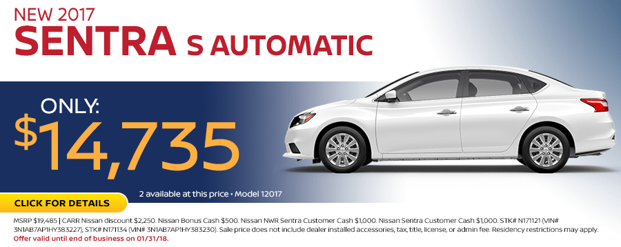 2017 Sentra S Automatic Sales Special at Carr Nissan in Beaverton, OR