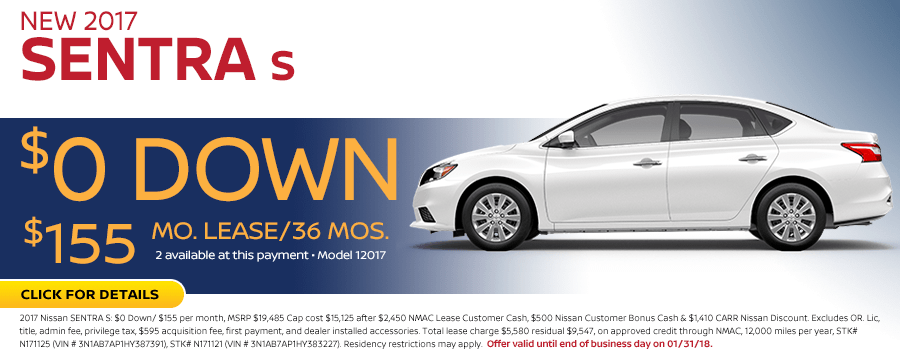 2017 Sentra S Lease Special at Carr Nissan in Beaverton, OR