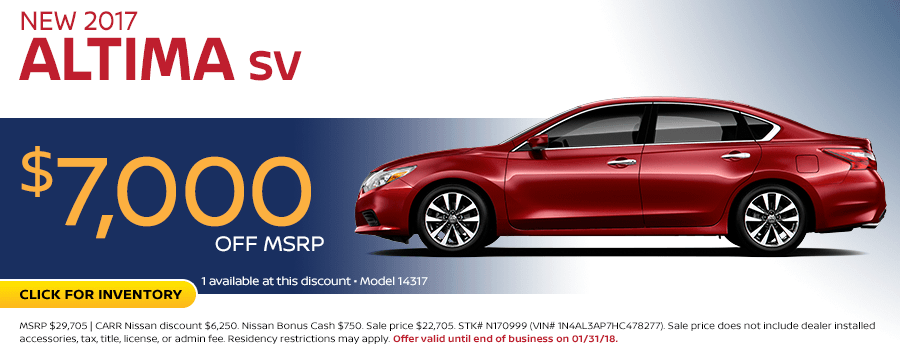 2017 Altima SV Sales Special at Carr Nissan in Beaverton, OR
