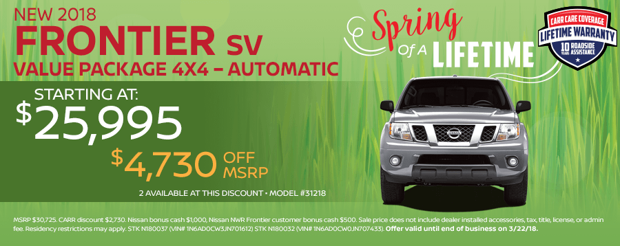 Save On This New 2018 Nissan Frontier SV Value Package 4X4 In-Stock Now While Supplies Last in Beaverton, OR