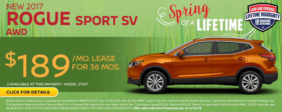 Save On This New 2017 Nissan Rogue Sport SV AWD special lease offer in Beaverton, OR