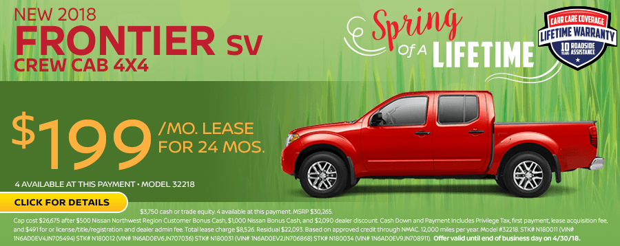 Save On This New 2018 Nissan Frontier SV Crew Cab 4WD lease special in Beaverton, OR