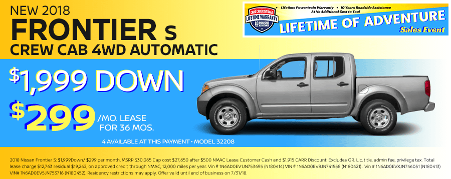 Save On This New 2018 Nissan Frontier Crew Cab 4WD Special Lease Offer in Beaverton, OR