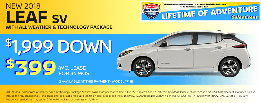 Save On This New 2018 Nissan Leaf SV Special Lease Offer in Beaverton, OR