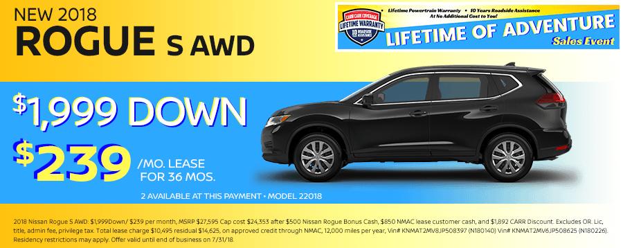 Save On This New 2018 Nissan Rogue S AWD Special Lease Offer in Beaverton, OR