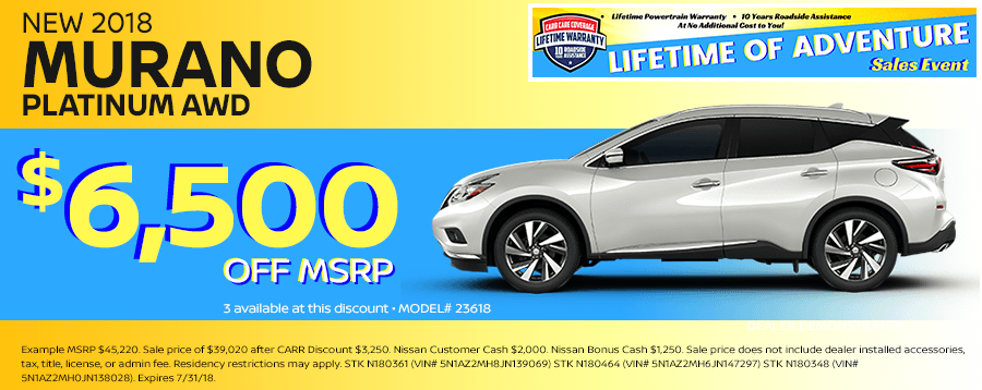 Save On This New 2018 Nissan Murano Platinum AWD Special Discount Savings Offer in Beaverton, OR