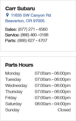 Carr Subaru Parts Hours and Location Beaverton, OR