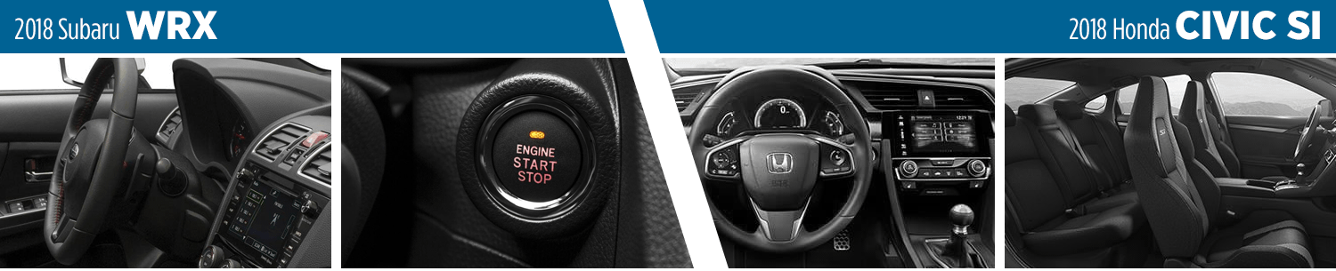 Compare the 2018 Subaru WRX vs Honda Civic Si Interior Styling