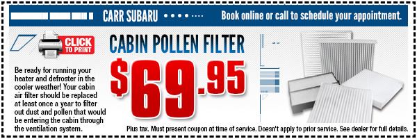 Elegant Subaru Cabin Air Filter Replacement Special | Portland, OR
