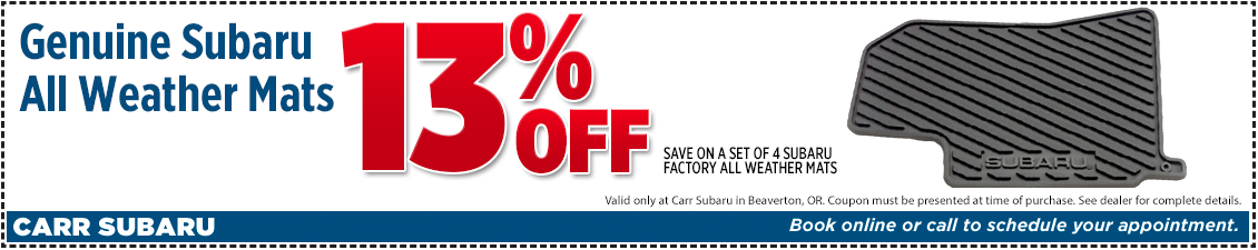 Click to Print This Genuine Subaru All-Weather Mats Parts Special in Beaverton, OR