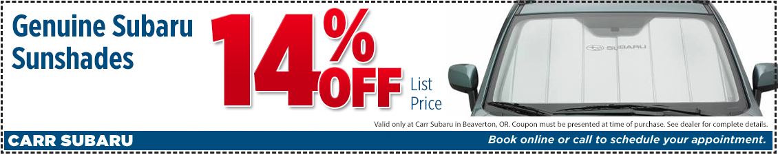 Click to Print This Genuine Subaru Sunshades Parts Special in Beaverton, OR