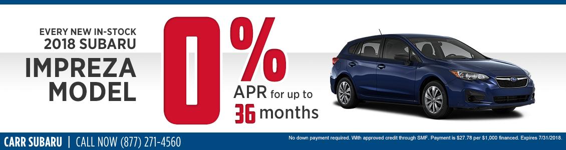 New In-Stock 2018 Subaru Impreza 0% APR Special in Beaverton, OR