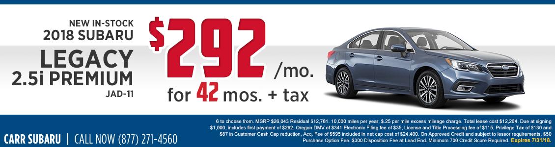 2018 Subaru Legacy 2.5i Premium Lease Special in Beaverton, OR