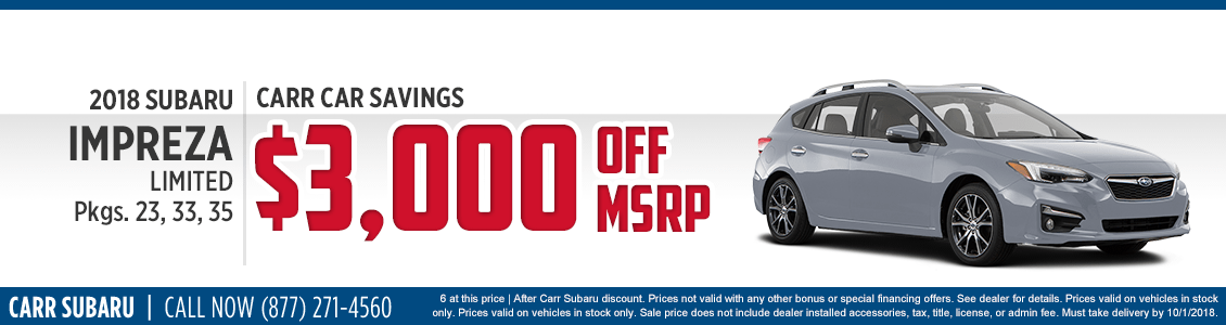 2018 Subaru Impreza Limited special purchase offer savings at Carr Subaru in Beaverton, OR