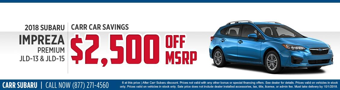 New 2018 Subaru Impreza Premium special purchase offer savings at Carr Subaru in Beaverton, OR