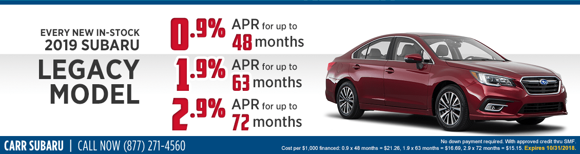 Every New In-Stock 2019 Legacy Model Low APR Special at Carr Subaru in Beaverton, OR