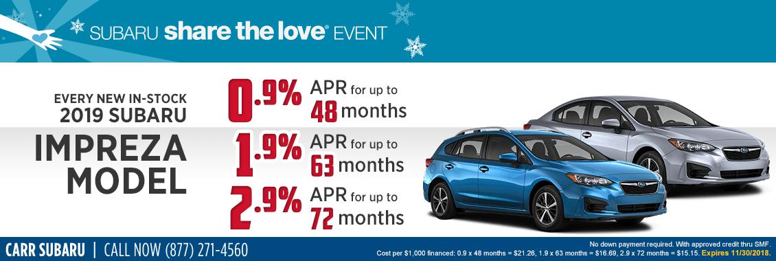 Every New In-Stock 2019 Impreza Model Finance Special at Carr Subaru in Beaverton, OR