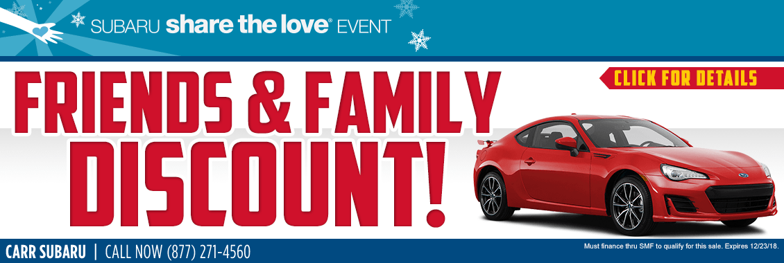 Save During The Subaru Friends & Family Sales Savings Event at Carr Subaru in Beaverton, OR