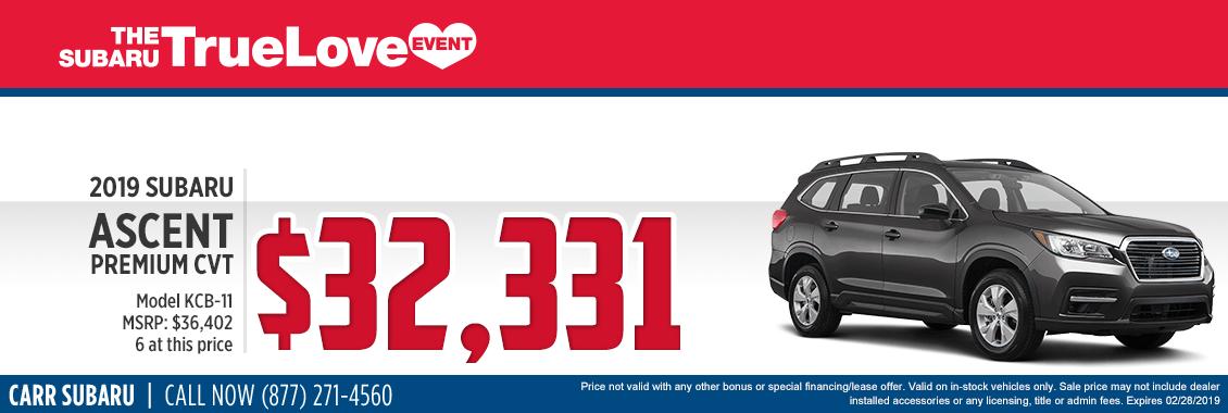 Take advantage of this 2019 Subaru Ascent 2.0i Premium CVT Special Savings Offer at Carr Subaru in Beaverton, OR