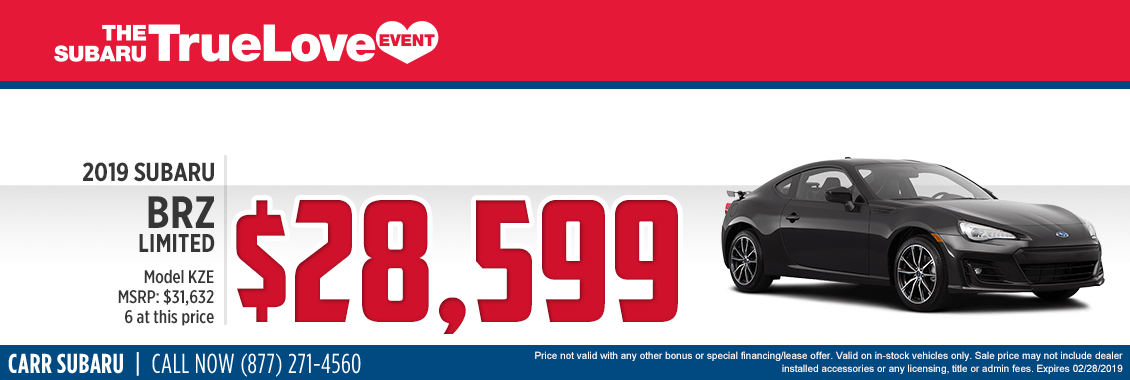 Take advantage of this 2019 Subaru BRZ Limited Special Savings Offer at Carr Subaru in Beaverton, OR