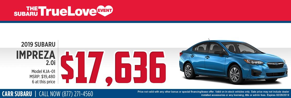 Take advantage of this 2019 Subaru Impreza 2.0i Special Savings Offer at Carr Subaru in Beaverton, OR