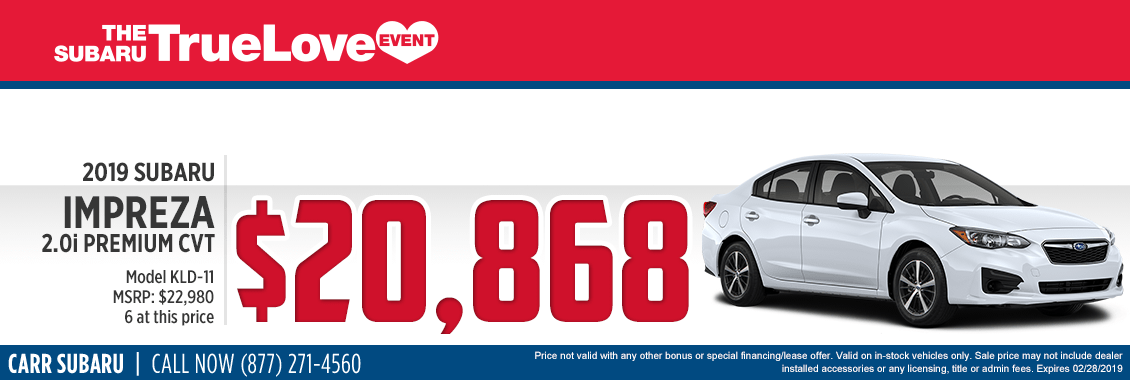 Take advantage of this 2019 Subaru Impreza 2.0i Premium CVT Special Savings Offer at Carr Subaru in Beaverton, OR