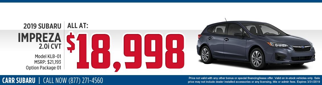 2019 Impreza 2.0i CVT Sales Special at Carr Subaru in Beaverton, OR