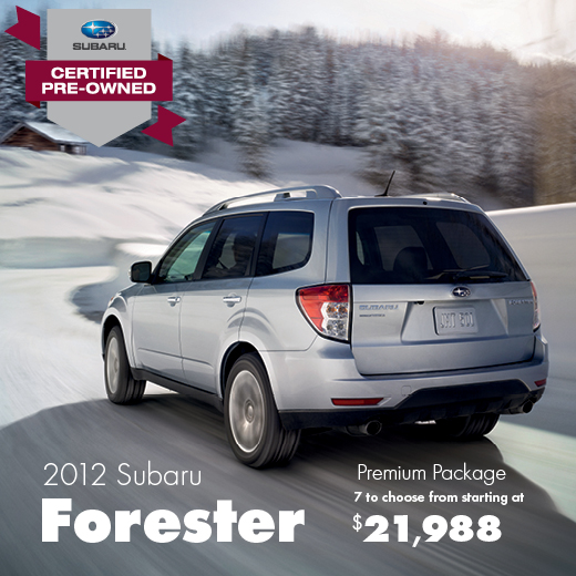Certified Pre-Owned 2012 Subaru Forester Premium Sale Special serving Balland, Washington
