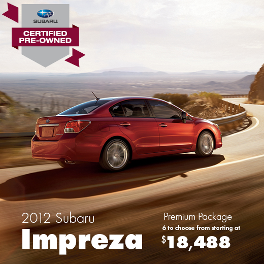 Certified Pre-Owned 2012 Subaru Impreza Premium Sale Special serving Balland, Washington