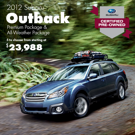 Certified Pre-Owned 2012 Subaru Outback Premium with All Weather Package Sale Special serving Seattle, Washington