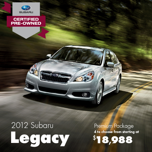 Certified Pre-Owned 2012 Subaru Legacy Premium Discount Sale Offer serving Seattle, Washington