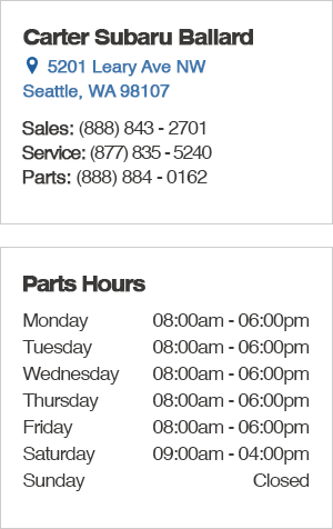 Carter Subaru Ballard Parts Hours and Location