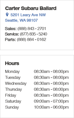 Carter Subaru Ballard Sales Department Hours, Location, Contact Information