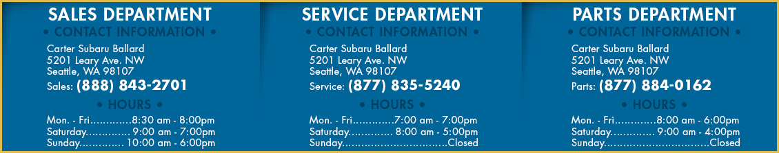 Carter Subaru Ballard Contact Information Seattle, Washington