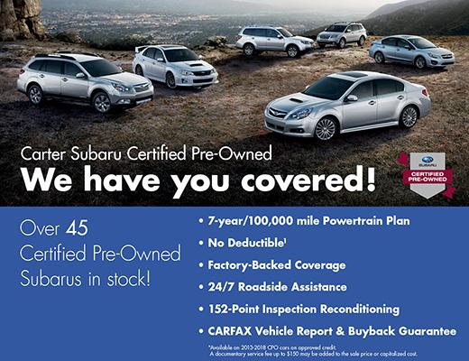 Certified Pre-Owned Subaru Models in Stock at Carter Subaru Ballard