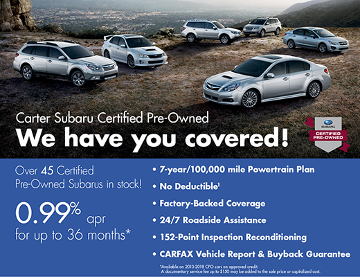Get 0.99% APR for 36 Months on Certified Pre-Owned Subaru Models in Stock at Carter Subaru Ballard