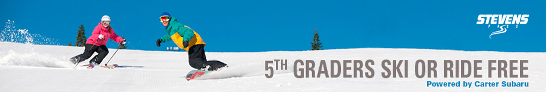 5th Graders Ski or Ride FREE with Stevens Pass provided by Carter Subaru!