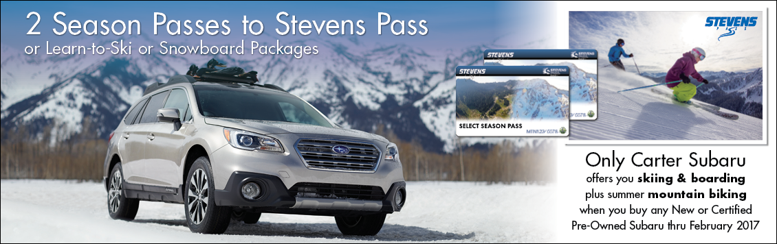Only Carter Subaru offers you skiing & boarding plus summer mountain biking when you buy any new or certified pre-owned Subaru through February 2017