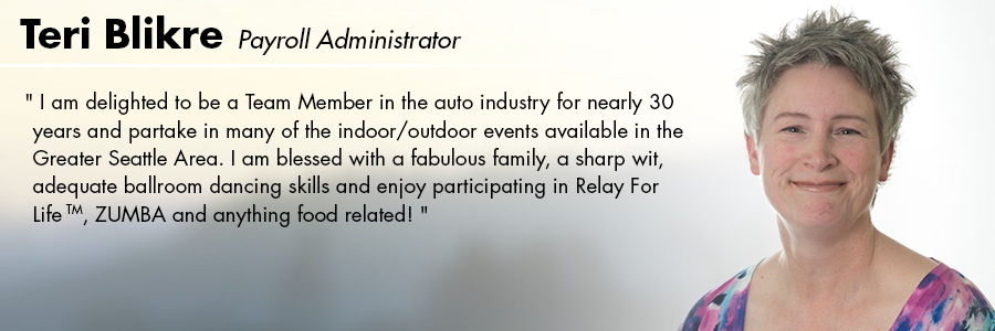Teri Blikre, Payroll Administrator at Carter Subaru Ballard in Seattle, WA