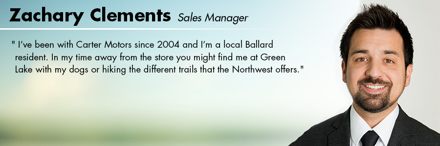 Zachary Clements, Sales Manager at Carter Subaru Ballard in Seattle, WA