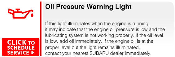 Subaru Oil Pressure Warning Light