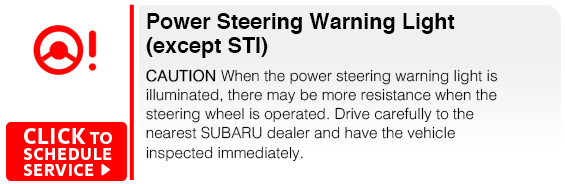 Subaru Power Steering Warning Light