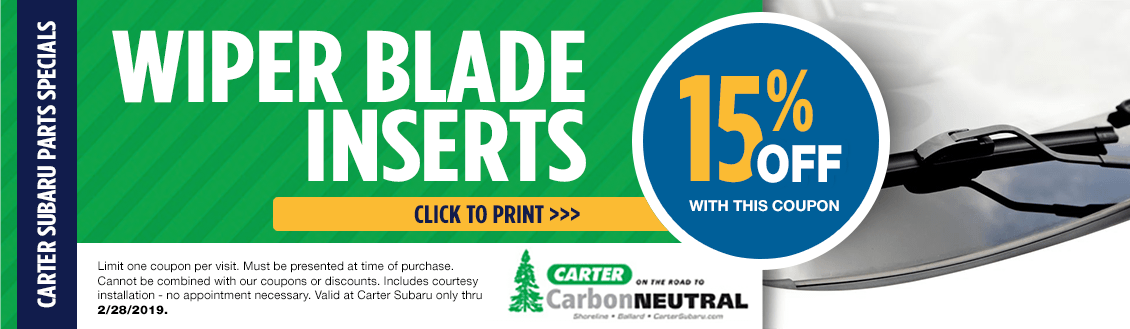 Subaru Wiper Blade Insert Parts Special at Carter Subaru Ballard in Seattle, WA