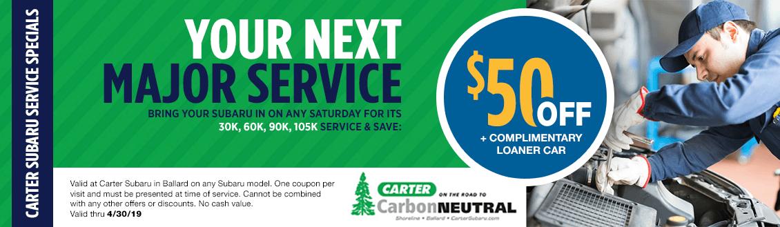 Saturday Major Service Special at Carter Subaru Ballard in Seattle, WA
