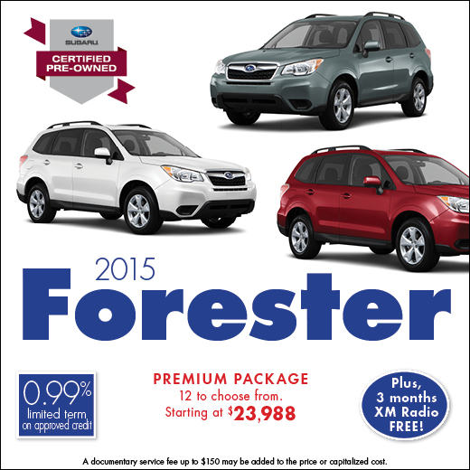 Click to view our complete inventory of certified pre-owned 2015 Subaru Forester models at Carter Subaru Ballard in Seattle, WA