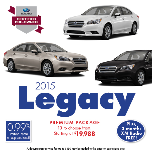Click to view our complete inventory of certified pre-owned 2015 Subaru Legacy models at Carter Subaru Ballard in Seattle, WA