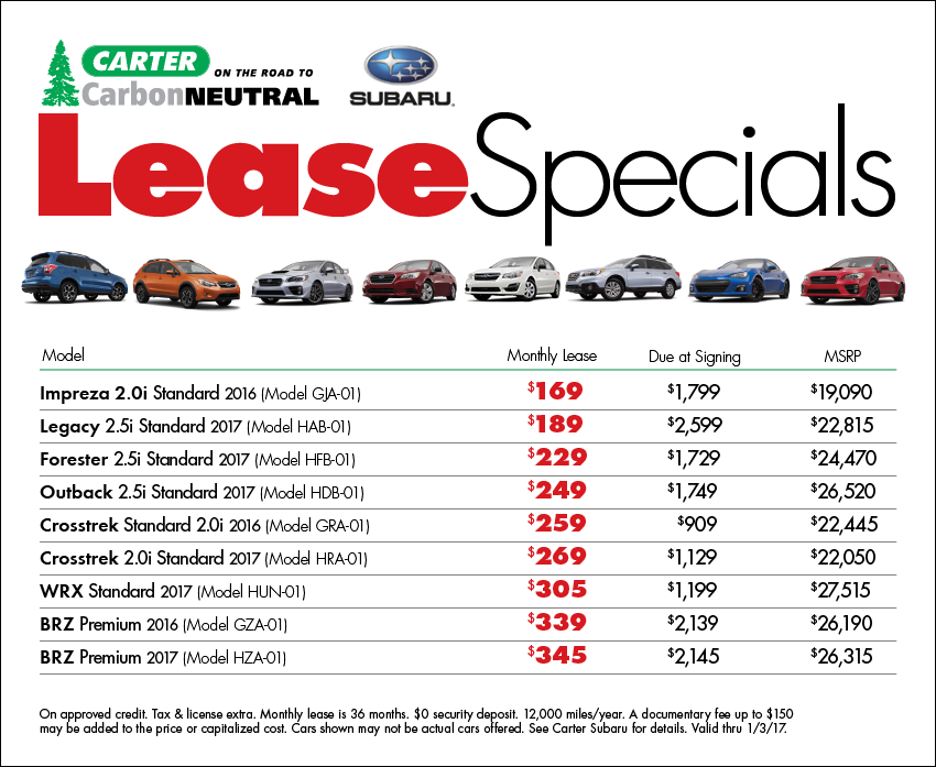 New Subaru Lease Specials available at Carter Subaru Ballard in Seattle, WA