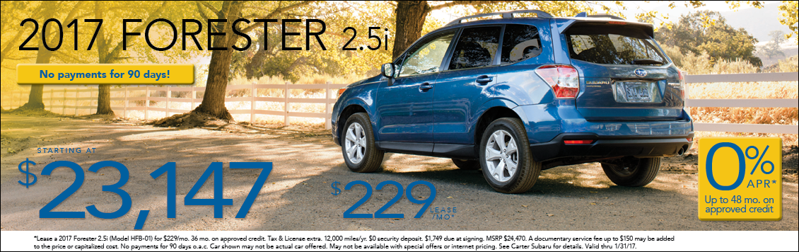 Carter Subaru Ballard is offering great specials on the New 2017 Subaru Forester in Seattle, WA
